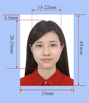 Size of the Photo for Chinese visa