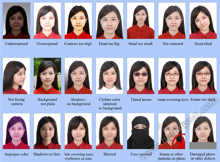 Unacceptable Chinese Visa Photos